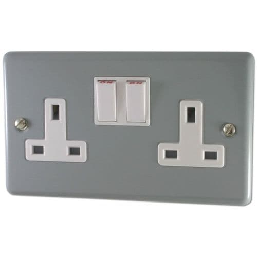 G&H CLG10W Standard Plate Light Grey 2 Gang Double 13A Switched Plug Socket